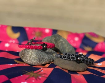 HOT PINK/BLACK bamboo Cord bracelet