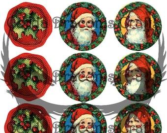 12 round vintage retro Christmas labels and seals, Mixed santa wax seal