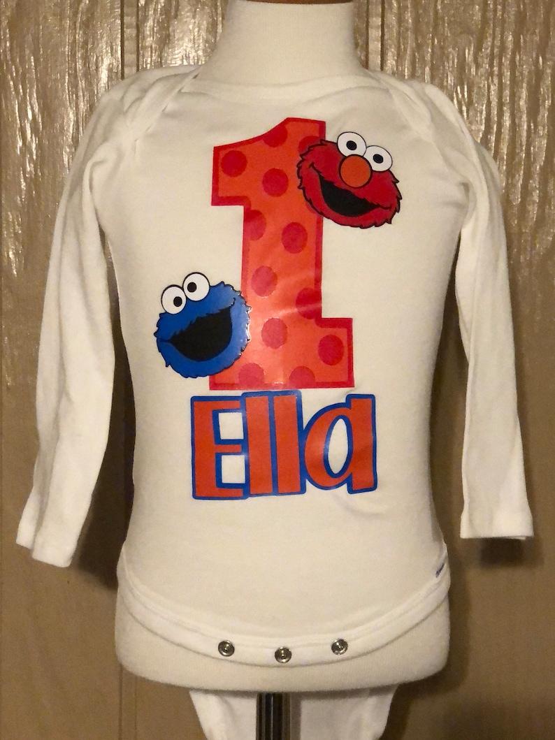 9000c802 Elmo Birthday Shirt Cookie Monster Birthday Shirt Sesame | Etsy