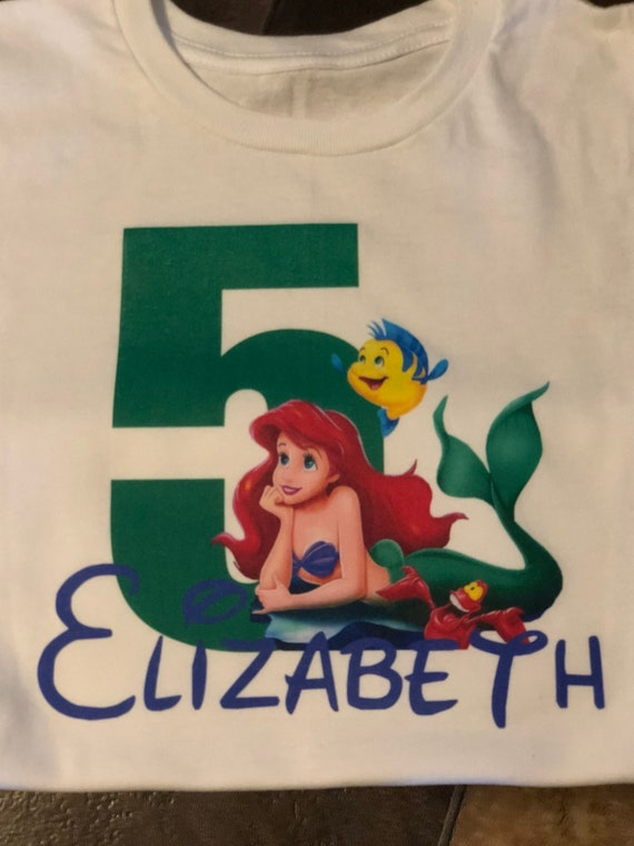 Little Mermaid Birthday Shirt Ariel Girls
