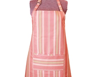 Pretty Simple Vintage Kitchen Apron Pink Country Garden Stripes Full