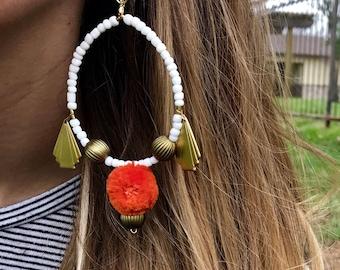 Orange Pom Pom Earrings, Orange and Gold Earrings, Orange Chandelier Earrings, Festival Earrings, Summer Earrings