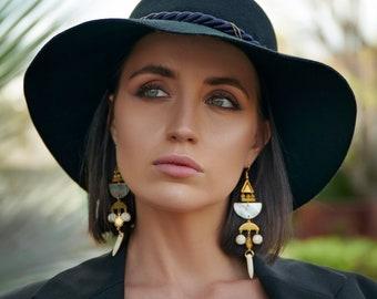 Long Geometric Celestial Statement Earrings / Large Boho Celestial Chandelier Earrings / Beaded Statement Earrings / Starburst Earrings