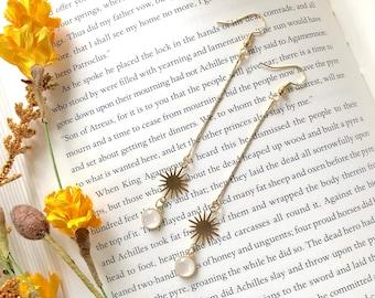 Long Delicate Celestial Dangle Earrings / Long Chain Dangle Earrings with Star Charm / Brass Bohemian Statement Earrings / Boho Jewelry