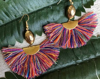 57a4659d6b93 Multicolor Colorful Beaded Fan Tassel Earrings Lightweight Statement  Earrings Summer Statement Earrings Warm Colors Bright Colorful Earrings