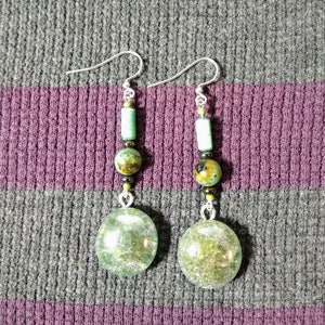 Lime Green Cracked Glass Earrings with African Turquoise Beads