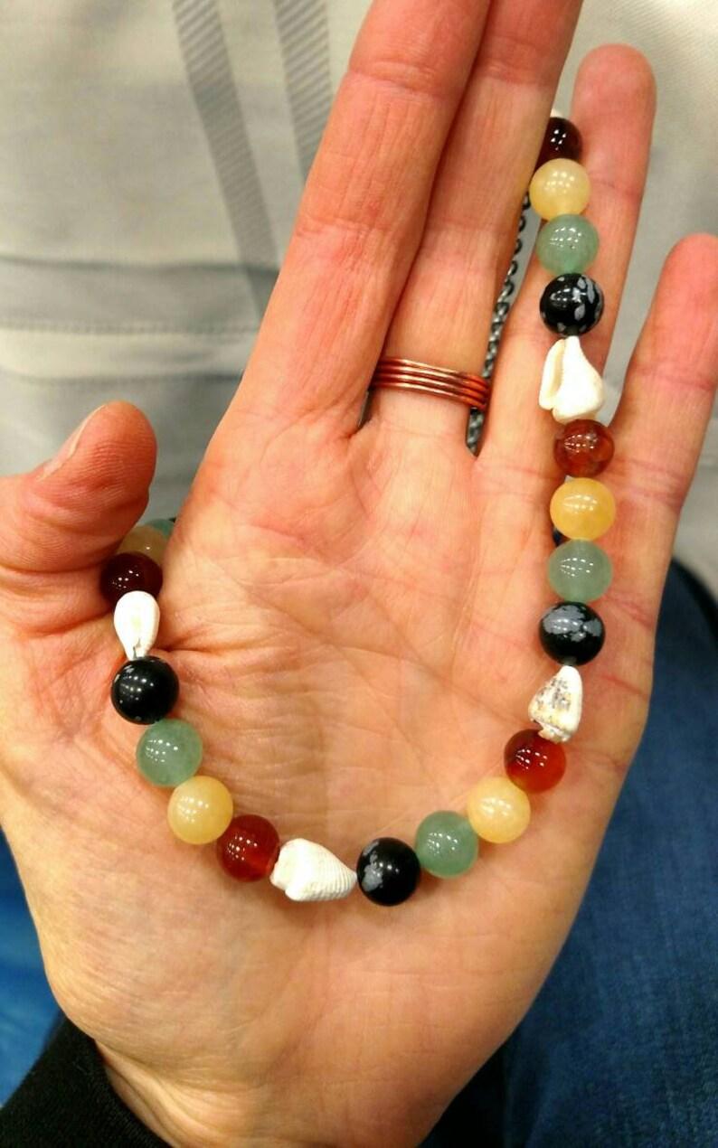 Reggae Vibes Seashell and Gemstone Beaded Necklace Choice of Gemstones