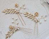 Wedding Hair Pin, Bridal Hair Pin, Gold Flower and Leaves Wedding Hair Pin, Pearl Wedding Hair Pin, Gold Bridal Hair Pin Flower