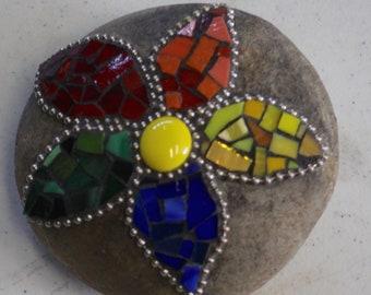 Mosaic Rock - Multicolor Flower