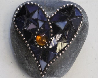 Mosaic Rock Heart - Purple with Yellow Glass Gem
