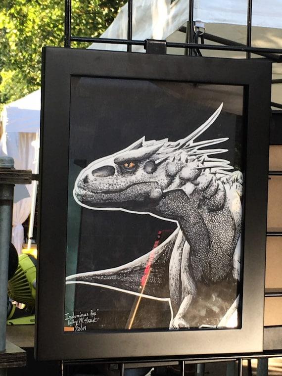 Indominus Rex Original Art Dinosaure Illustration Dessin Peinture Jurassic Park Jurassic World Hybride Monstre Horreur Art
