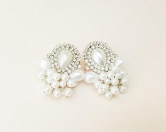 Wedding Jewelry, Bride Earrings, Bridal, Bridesmaid, White, Statement, Bohemian, Beaded Pearl, Rhinestone, Boho, Cloud, Gentle Gift, Drop