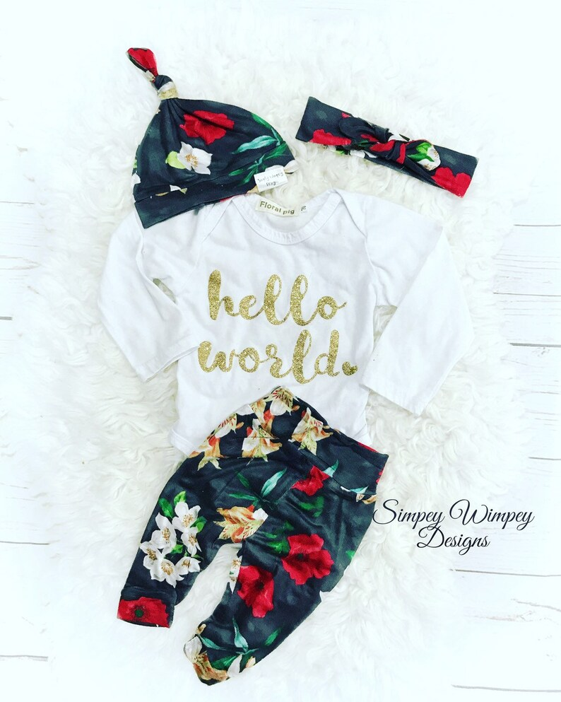 Girl coming home outfit premie 4T floral