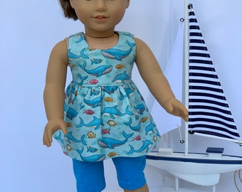2370d4f578a Dolphin Design Tunic Top for 18 inch American Girl Dolls