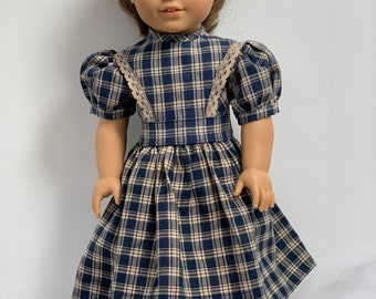 Dark Blue Plaid 1850s Dress and Apron for American Girl and 18 inch dolls