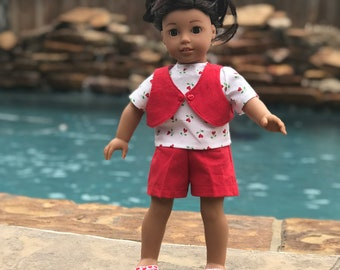 Red Shorts Set for 18 inch doll