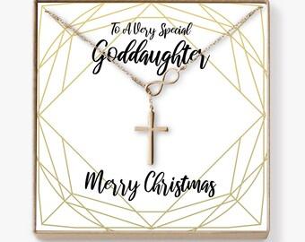 christmas gift for goddaughter goddaughter present goddaughter gift necklace jewelry xmas gift holiday gift gift idea infinity cross