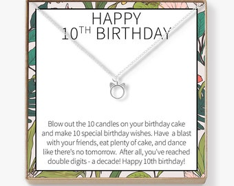 10th Birthday Gift For Girls Present Ten Year Old Girl Necklace Jewelry Bday Idea Daughter Niece Cat
