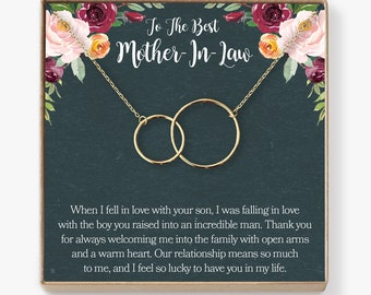Mother In Law Necklace Gift To My Card Funny 2 Interlocking Circles