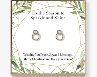 Christmas Gift Ideas Earrings: Xmas Gift, Holiday Gift, Gift Idea for Her, Women, Girls, Family, Friends, Wife, Mom, Interlocking Circles