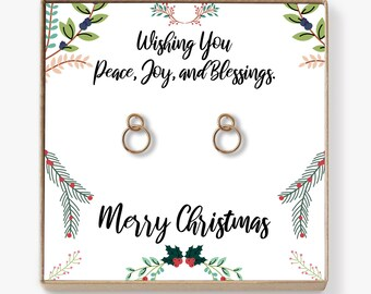 Christmas Gifts 2018 Earrings: Xmas Gift, Holiday Gift, Gift Idea for Her, Women, Girls, Family, Friends, Wife, Mom, Interlocking Circles