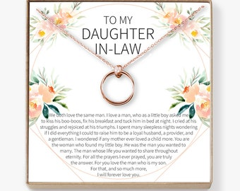Daughter In Law Gift Necklace Wedding Jewelry From Mother For Bride 2 Linked Circles