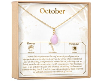 Birthstone Necklace Gift October Tourmaline Birthday Gift for Her Sister Crystal Charm Present Grandma Friend Mom