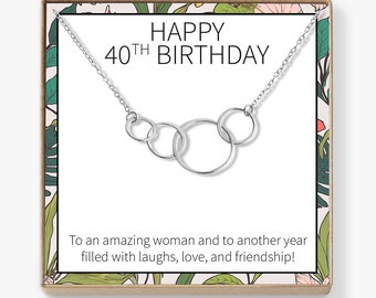 40th Birthday Gift Necklace Birthday Gift Jewelry Gift For Her 4 Asymmetrical Circles