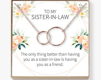 Sister In Law Gift Necklace Birthday Wedding Thank You Bridesmaid Bridal Shower Rehearsal 2 Interlocking Circles