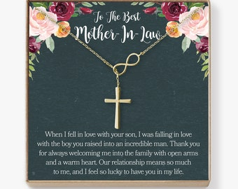 Mother In Law Necklace Gift To My Card Funny Infinity Cross