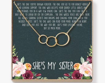 Sisters Necklace Sister Gift For Birthday Big Giggles Secrets 3 Asymmetrical Circles