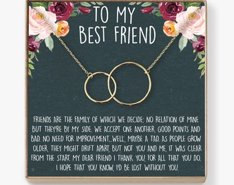 Best Friend Birthday Gift Necklace BFF Jewelry Long Distance Quotes Friends Forever 2 Interlocking Circles