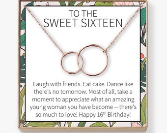 Sweet 16 Gift Necklace Sixteen 16th Birthday Daughter Granddaughter Niece Friend 2 Interlocking Circles