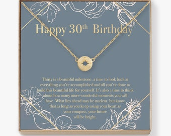 30th Birthday Compass Necklace