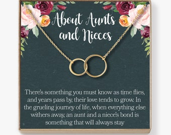 Christmas Gift For Aunt From Niece Necklace Jewelry Quotes 2 Asymmetrical Circles
