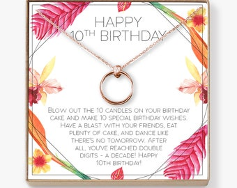 10th Birthday Gift For Girls Present Ten Year Old Girl Necklace Jewelry Bday Idea Daughter 2 Linked Circles