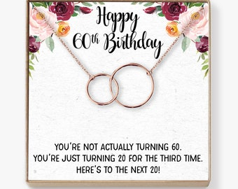 60th Birthday Gift Necklace Present Jewelry For Her Mom Grandma Aunt Friend 2 Interlocking Circles