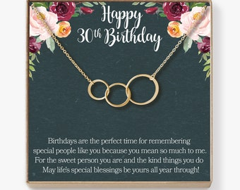 30th Birthday Gift Necklace Jewlery For Her 3 Asymmetrical Circles