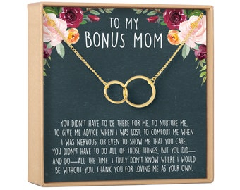To My Mother Step Mom Mother In Law Grandma Necklace For A Great Job Thank You Pendent Gift With The Message Card From Kids On Mother/'s Day