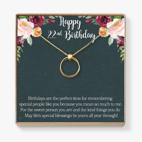 2 Linked Circles Jewelry Gift for Her Dear Ava 21st Birthday Gift Necklace Birthday Gift