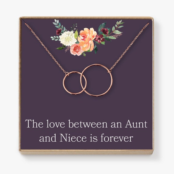 Aunt-Niece Necklace: Aunt-Niece Gift, Aunt-Niece Jewelry, Aunt-Niece  Quotes, Aunt Necklace, 2 Interlocking Circles