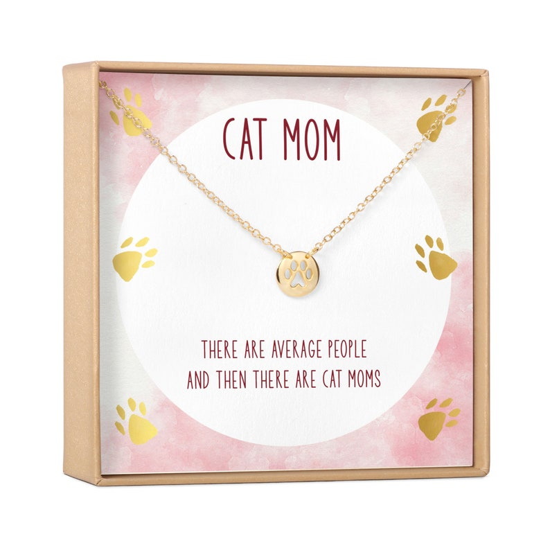 Cat Mom Gift Necklace: Gift for Cat Lover Cat Mother Kitty image 0
