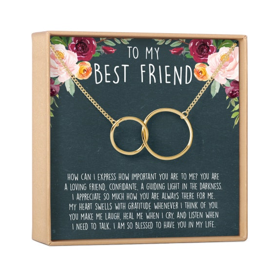 2 Interlocking Circles Best Friend Gift Jewelry Best Friend Necklace: BFF Necklace Friends Forever Long Distance Quotes