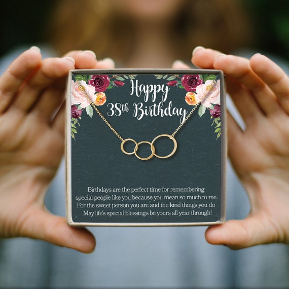38 Geburtstag Geschenk Halskette Geburtstagsgeschenk Schmuck Geschenk Für Sie 3 Asymmetrische Kreise
