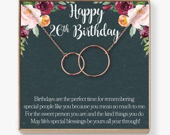 26th Birthday Gift Necklace: Birthday Gift, Jewlery Gift For Her, 2 Interlocking Circles