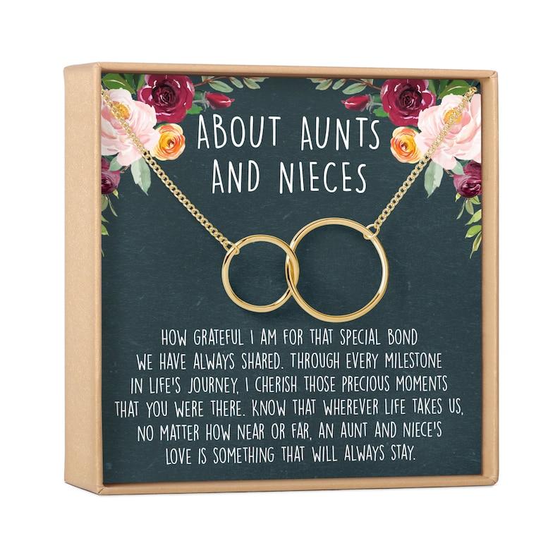 2 Interlocking Circles Aunt Necklace Aunt-Niece Quotes Aunt-Niece Jewelry Aunt-Niece Necklace: Aunt-Niece Gift