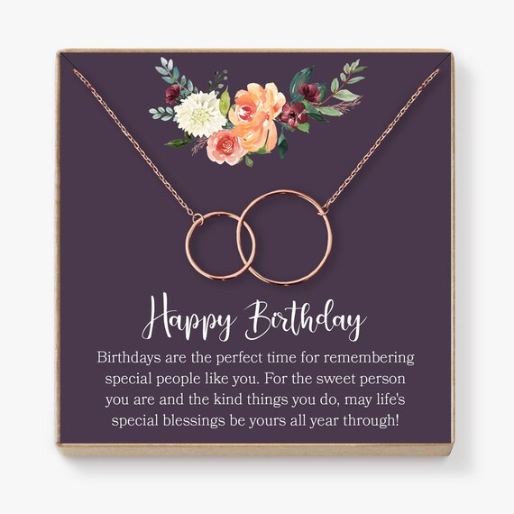 Daughter Dear Ava Birthday Gifts for Girls: Birthday Present Necklace Girl Teen 2 Asymmetrical Circles