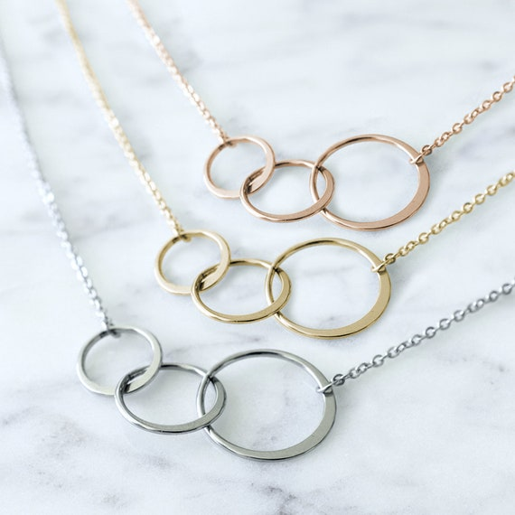 Birthday Gift Dear Ava 39th Birthday Gift Necklace Jewlery Gift for Her 3 Asymmetrical Circles