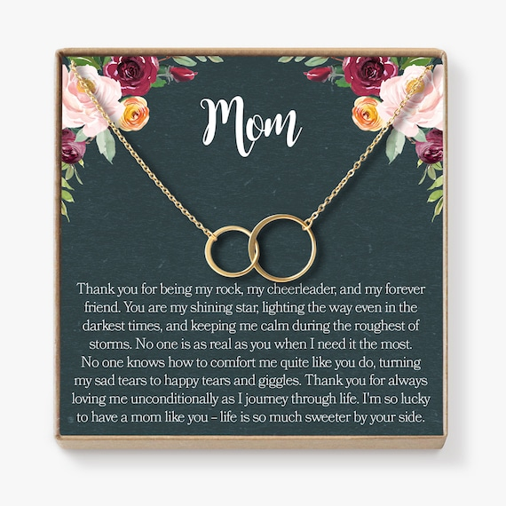 Xmas Dear Ava for Mom: Present Jewelry Necklace 2 Interlocking Circles for Mother