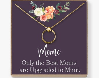 Mimi Necklace: Mimi Gift, Mimi Sign, Blessed Mimi, Gifts For Mimi, Best Mimi Ever, Mimi Jewelry, 2 Linked Circles